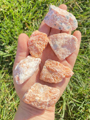 Raw Orange Calcite from Canada - rough orange calcite - raw orange calcite - healing crystal - natural orange calcite - chakra stones