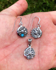 Sun And Moon Sterling Silver Earrings Pendant Set Of &