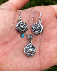 Sun And Moon Sterling Silver Earrings Pendant