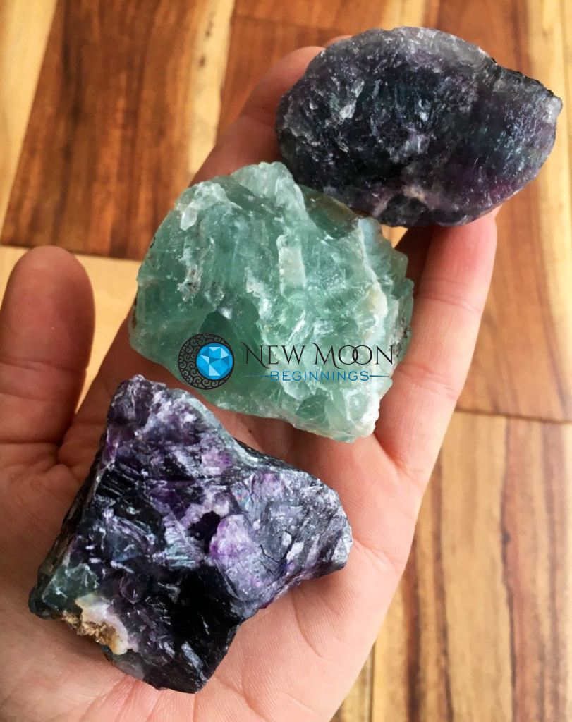 "Raw Rainbow Fluorite Crystal (2"" - 3"") - New Moon Beginnings - 1"