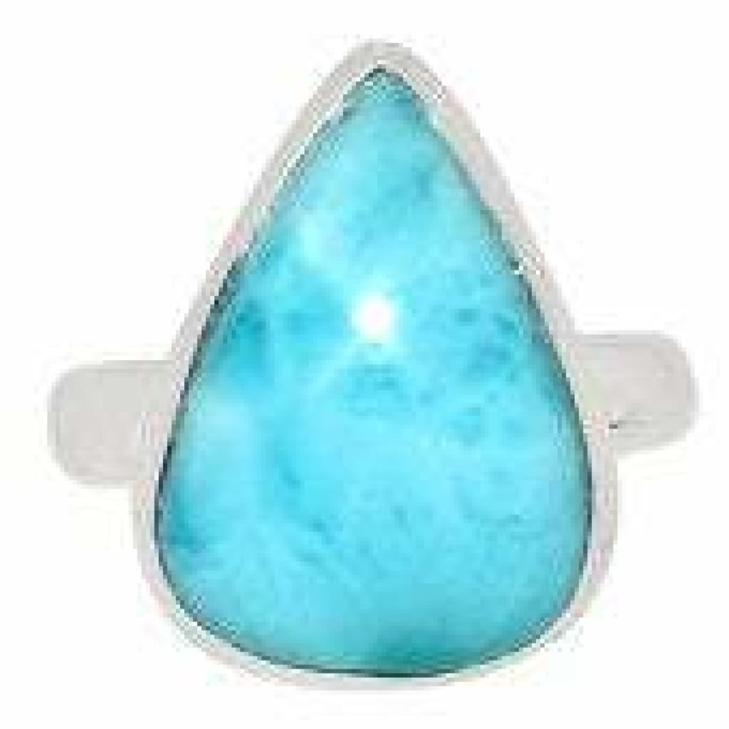 Larimar Ring - size 10 ring - larimar jewelry - healing crystals and stones - Larimar stone - chakra - sterling silver ring size 10 - 1868