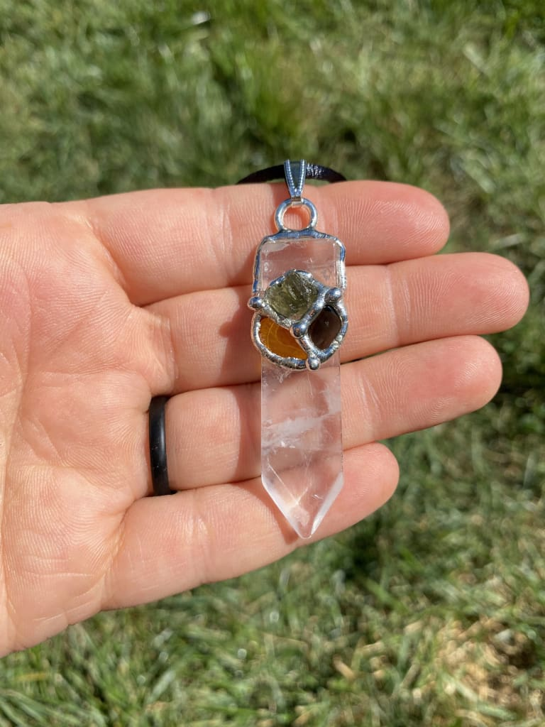 Protection Empowerment Point Pendant - Raw Moldavite Crystal Necklace - Jet, Amber, quartz crystal point - healing crystals and stones