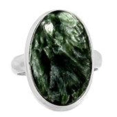 Seraphinite Ring Size 7 - Seraphinite jewelry - Size 7 Ring - Seraphinite cabochon - healing crystals and stones - heart chakra 591