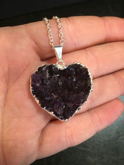 Raw Amethyst Heart Pendant - Silver Amethyst Cluster Necklace - Amethyst Cluster - Healing Crystal Necklace - Amethyst Heart Cluster Pendant