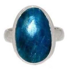 Blue Apatite Ring Size 6.5 Sterling silver - blue apatite size 6.5 ring - blue apatite crystal - healing crystals and stones 160