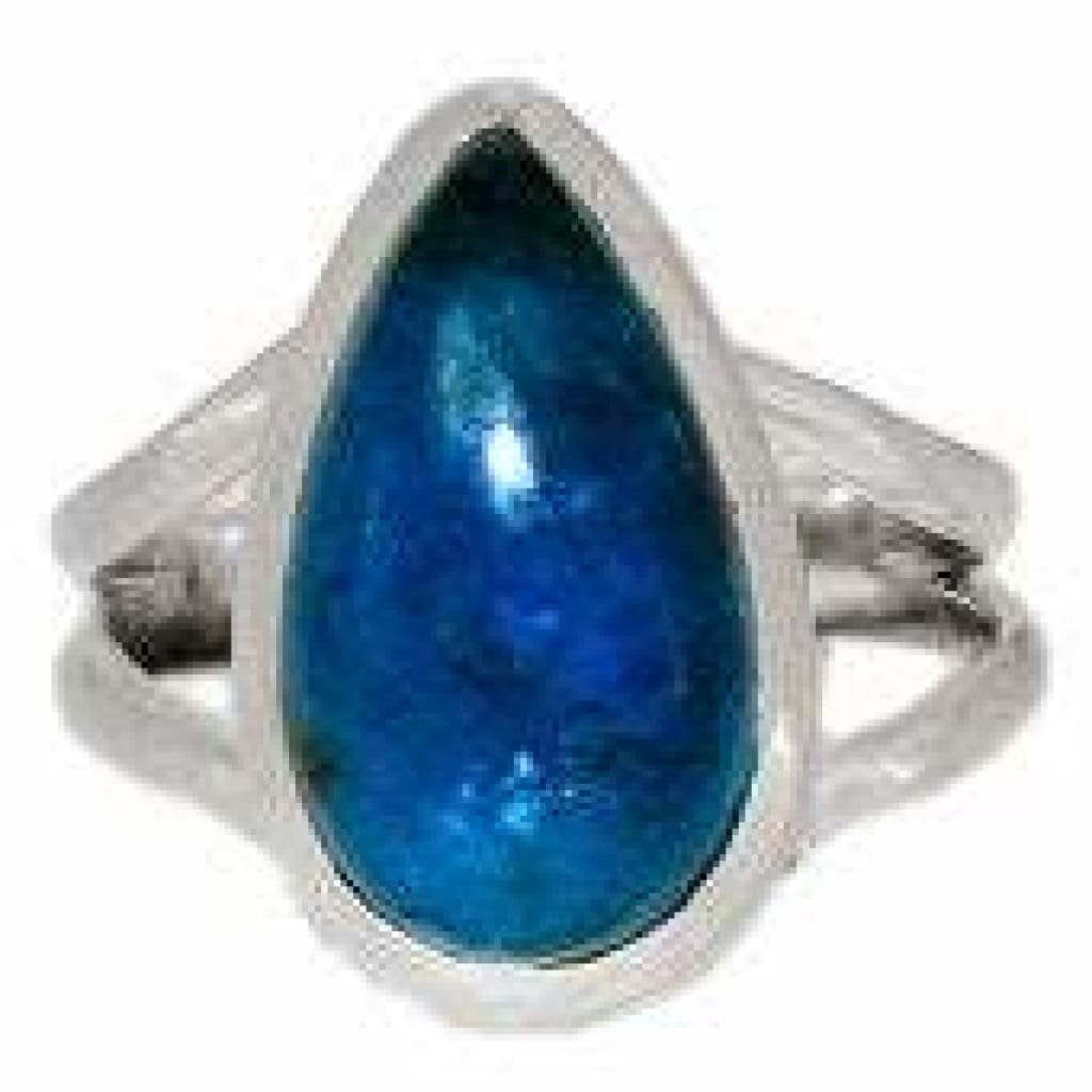 Neon Blue Apatite Ring Size 7.5 Sterling silver - blue apatite size 7.5 ring - blue apatite crystal - healing crystals and stones 159