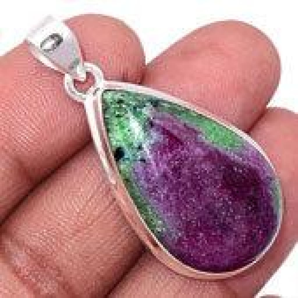 Ruby in Zoisite pendant - Anyolite necklace - raw ruby zoisite necklace - ruby in zoisite pendant - ruby - 925 Sterling Silver pendant - 882