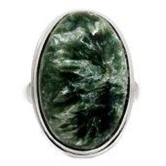 Seraphinite Ring Size 10 - Seraphinite jewelry - Size 10 Ring - Seraphinite cabochon - healing crystals and stones - heart chakra 742