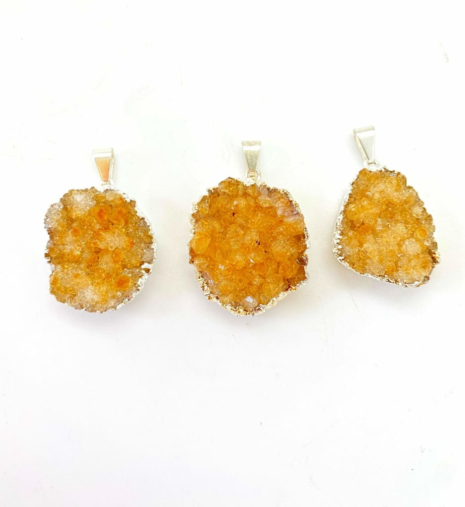 Raw Citrine Pendant - Citrine Cluster Necklace - Healing Crystal Necklace - Citrine Necklace - Brazilian Citrine Pendant - Silver Plated