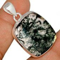 moss agate pendant - moss agate necklace - moss agate jewelry - moss agate - Sterling silver - moss agate cabochon - moss agate crystal 959