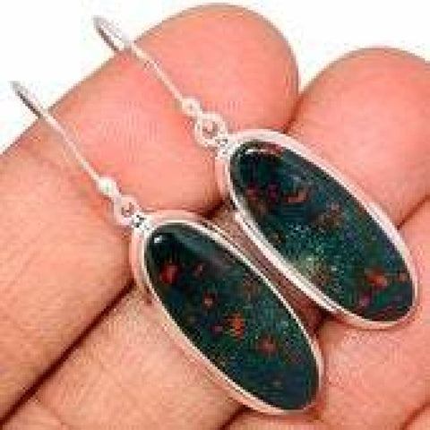 Bloodstone Earrings - Sterling Silver Earrings - Bloodstone Jewelry - healing crystals and stones - Bloodstone flat - bloodstone 327