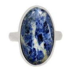 Sodalite Ring - size 9 ring - sodalite jewelry - healing crystals and stones - sodalite stone - chakra - sterling silver ring size 9 - 303