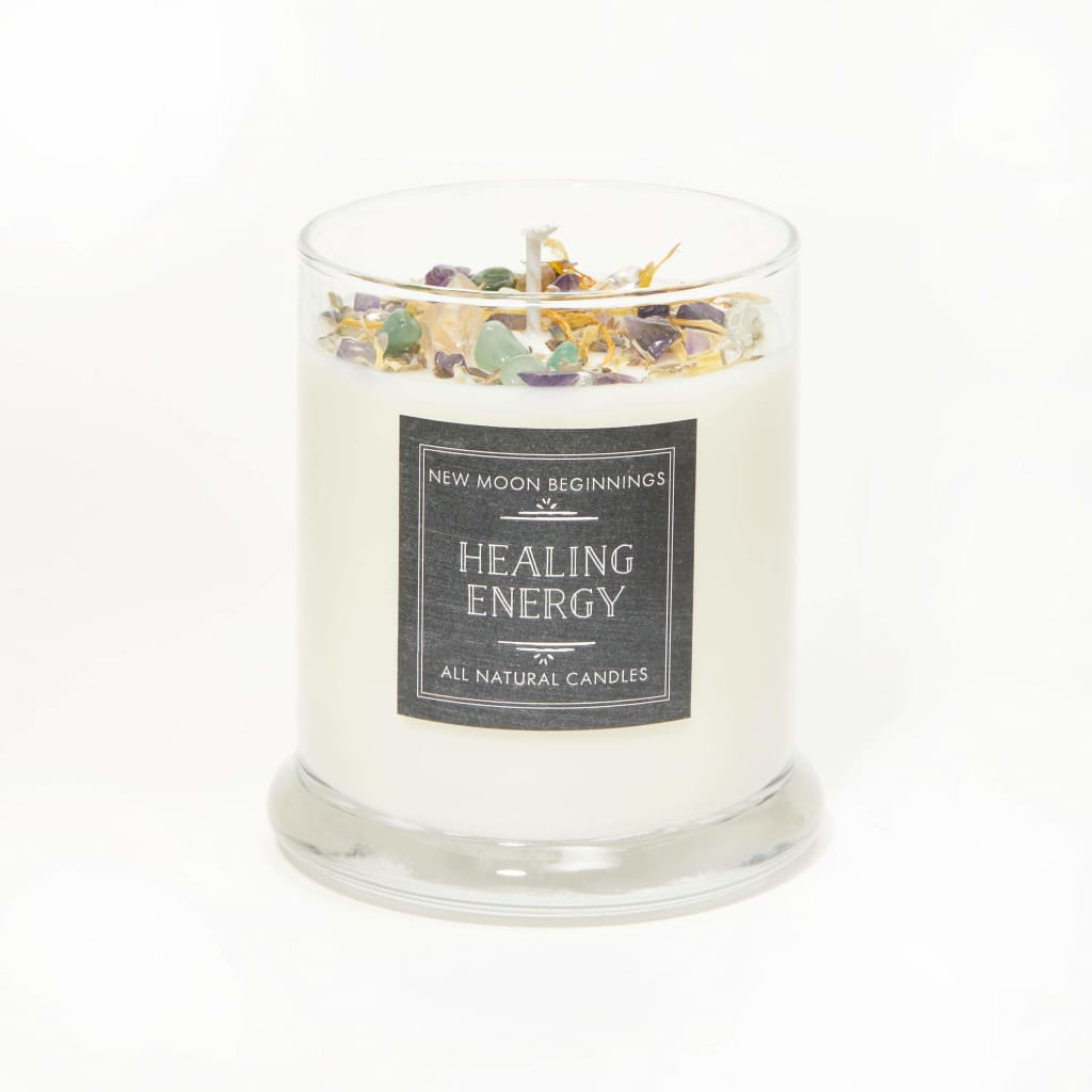 flowers 13 oz SUPPORTED Energy Healing Intention Candle with Crystals Aromatherapy