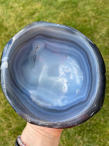 Agate Bowl - Hand Carve Agate Geode bowl - Agate slice - raw quartz crystal - agate slab - polished agate dish healing crystals and stones 8