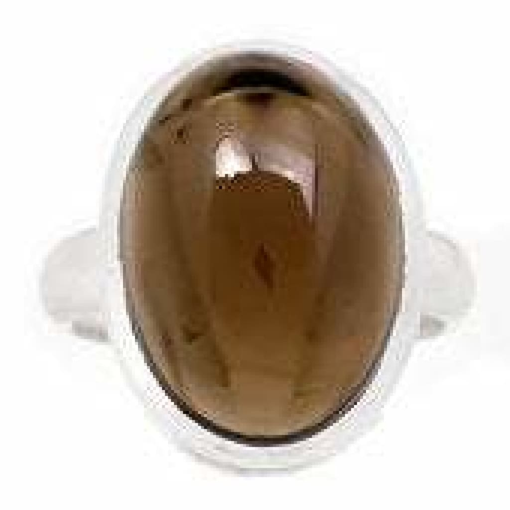 Smoky Quartz Ring Size 7.5 - Sterling Silver Ring - smoky quartz crystal ring - healing crystals and stones - smoky quartz jewelry 243