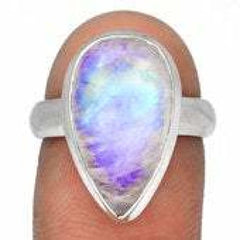 Blue Fire Moonstone Ring - rainbow moonstone ring silver - moonstone ring size 7 ring - Gemstone ring - moonstone ring sterling silver 3676