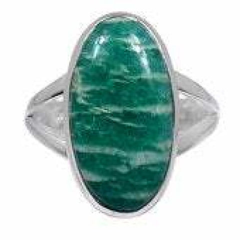 Amazonite Ring Size 10 Ring Sterling Silver Ring - Amazonite Crystal Ring - Amazonite Jewelry - Amazonite Stone Ring - Healing Crystals 586