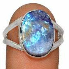 Raw Rainbow Moonstone Ring size 9.5 ring - raw moonstone ring silver - raw moonstone crystal - moonstone ring - sterling silver ring 379