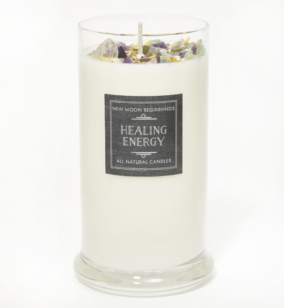 Healing Energy Candle - Negative Energy Cleansing - Soy Aromatherapy Candle - Handmade Candle with Crystals & Herbs - Energy Healing Candle