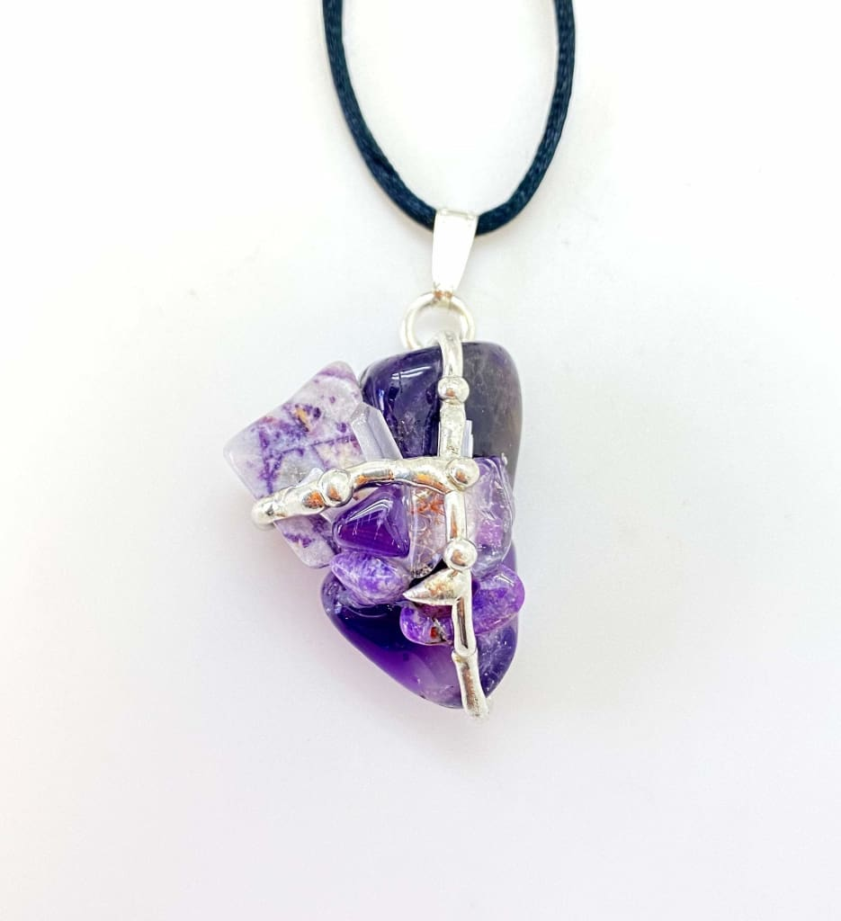 Soul Star Chakra Amulet - Soul Star Pendant - Selenite, Sugilite, Charoite, & Rutilated Quartz Crystal - soul star crystal necklace