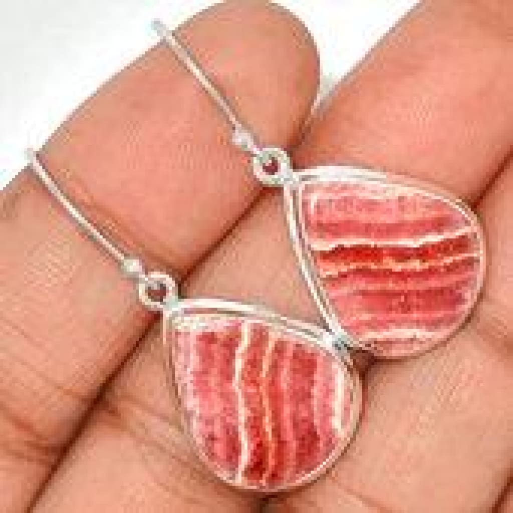 rhodochrosite earrings sterling silver - rhodochrosite stone earrings - rhodochrosite jewelry - pink rhodochrosite crystal earrings 479