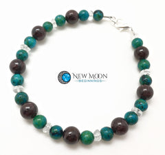 Garnet Chrysocolla And Quartz Bracelet