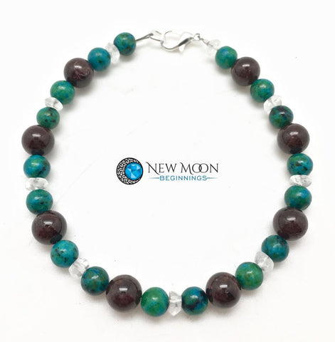 Garnet, Chrysocolla, and Quartz Bracelet