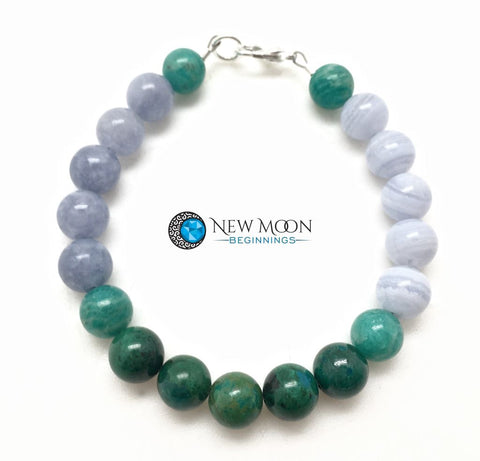 Water Element Bracelet (Amazonite, Aquamarine, Blue Lace Agate, and Chrysocolla)