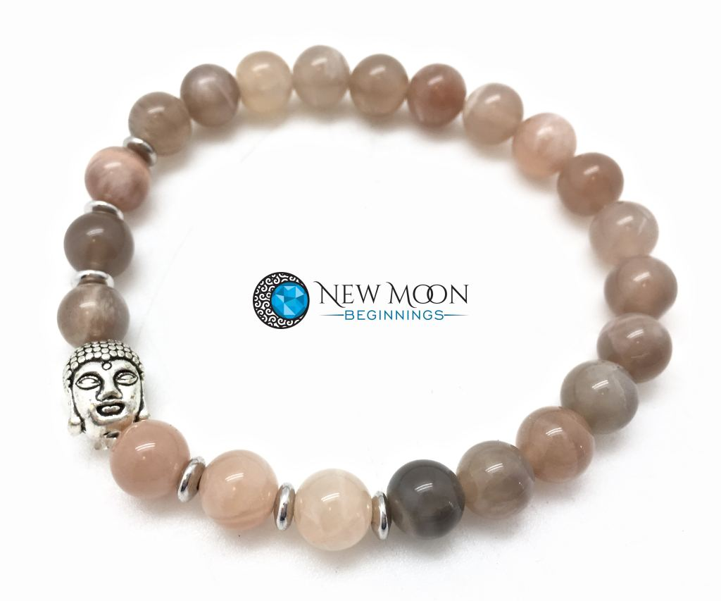 Peach Moonstone Bracelet With Silver Buddha Head Charm