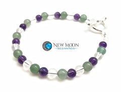 Good Luck And Health Bracelet (Green Aventurine Amethyst Clear Quartz)