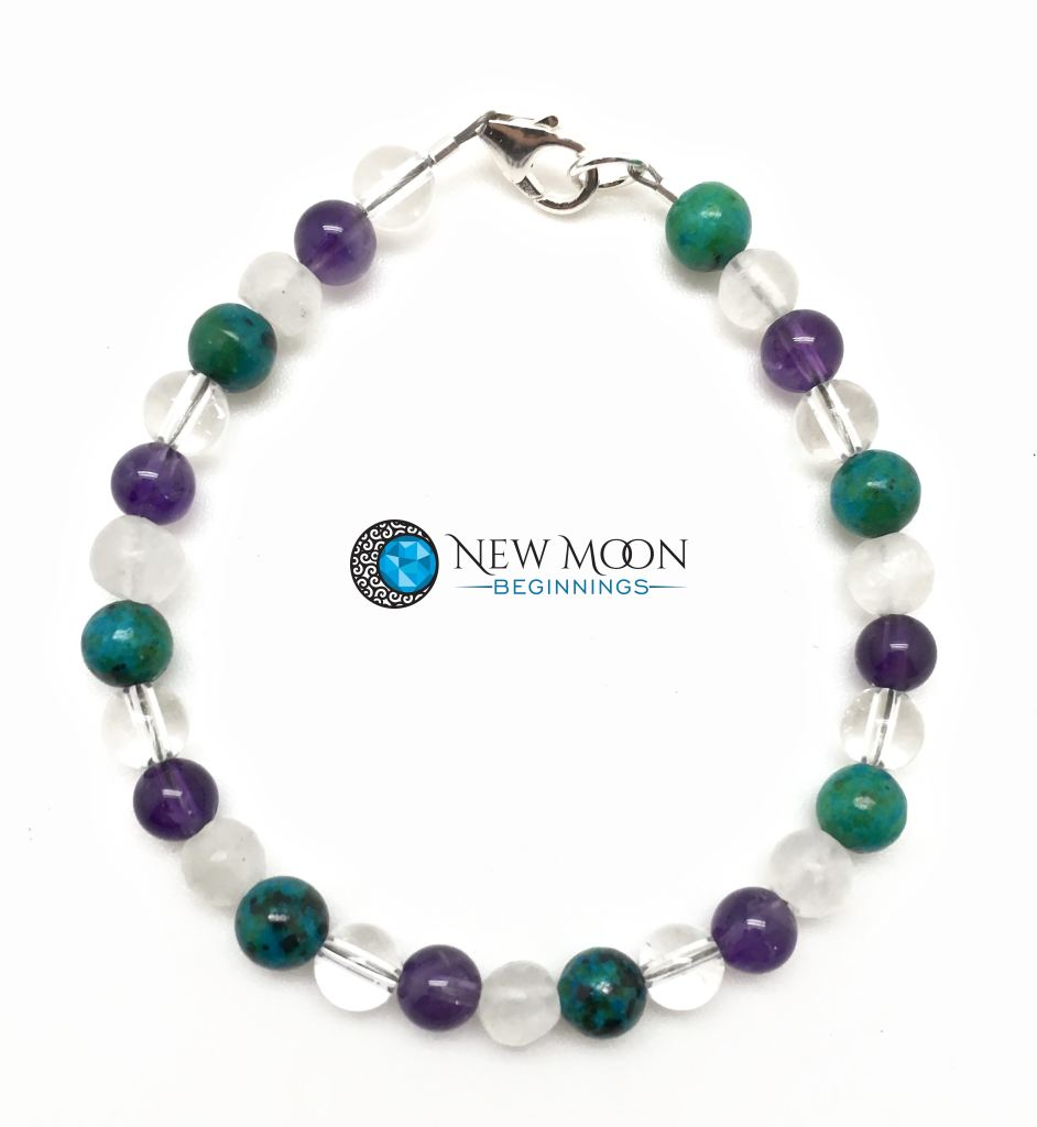 Sleep Aid And Pain Relief Bracelet (Selenite Amethyst Chrysocolla & Quartz Crystal)