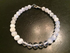 Selenite & Crystal Quartz Bracelet - New Moon Beginnings - 1