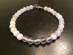 Selenite & Crystal Quartz Bracelet - New Moon Beginnings - 3