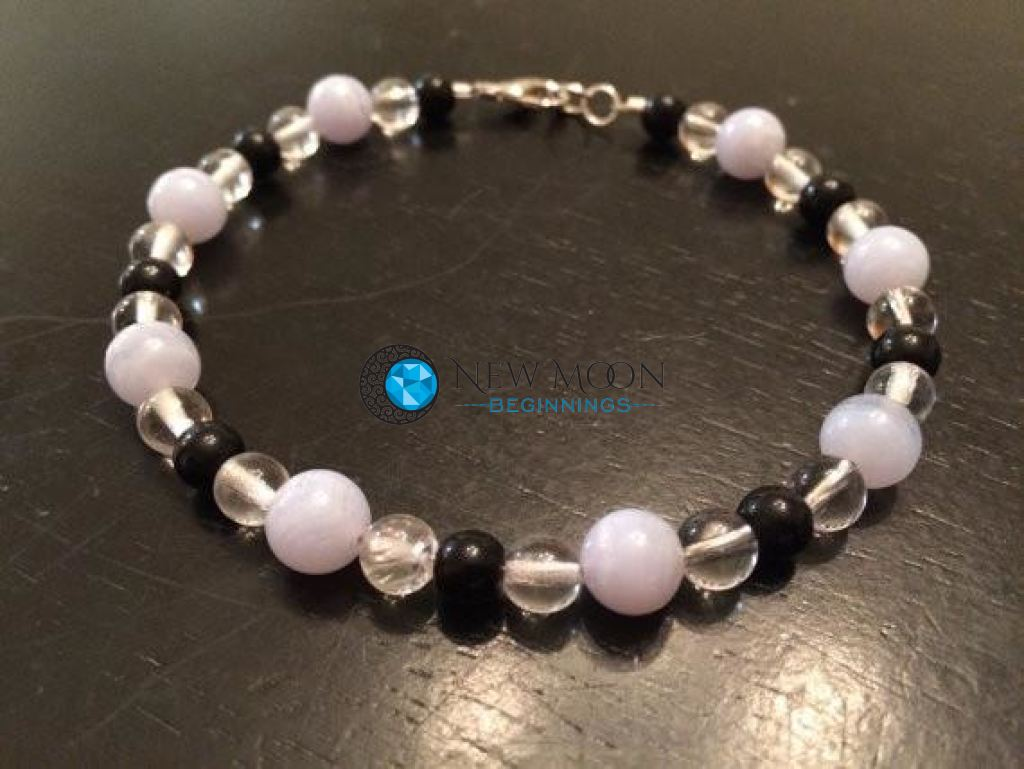 Stress Relief Bracelet (Blue Lace Agate, Quartz, & Black Obsidian) - New Moon Beginnings - 1