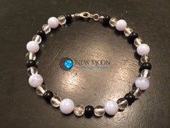 Stress Relief Bracelet (Blue Lace Agate, Quartz, & Black Obsidian) - New Moon Beginnings - 3