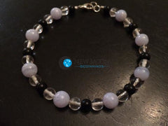 Stress Relief Bracelet (Blue Lace Agate, Quartz, & Black Obsidian) - New Moon Beginnings - 4