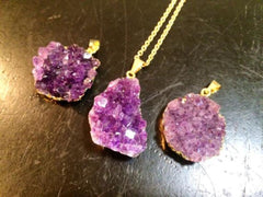 Gold Amethyst Cluster Pendant (chain optional) - New Moon Beginnings - 2