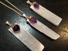 Selenite Pendant with Amethyst Crystal - New Moon Beginnings - 2