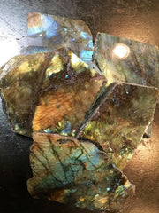Labradorite Slice with rough edges - New Moon Beginnings - 2