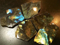 Labradorite Slice with rough edges - New Moon Beginnings - 3