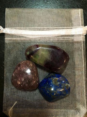 Third Eye Chakra Gemstone Set (Fluorite, Lapis Lazuli, & Lepidolite) - New Moon Beginnings - 2