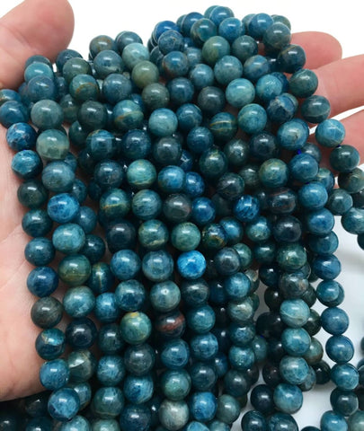 Blue Apatite Beads - 8mm Blue Apatite Smooth Round Beads - Natural Blue Apatite Crystal Beads - Blue Apatite Stone Beads - Gemstone Beads