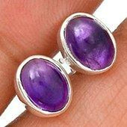 Amethyst Stud Earrings 925 Sterling Silver - Raw Amethyst Earrings - Amethyst Crystal Earrings - Healing Crystals and stones silver earrings