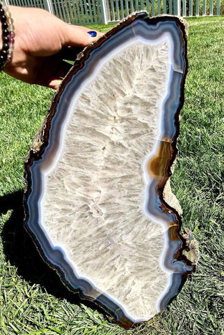 Agate Slice Large - quartz crystal - Agate Slab - large agate geode - rocks and minerals - agate stone - healing crystals and stones 170