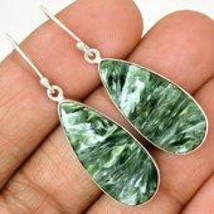 Seraphinite Earrings - dangle earrings - Seraphinite jewelry - Seraphinite cabochon - healing crystals and stones - heart chakra 478