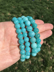 russian amazonite bracelet 10mm+ beads - healing crystal bracelet - amazonite jewelry - elastic bracelet - chakra stones - amazonite beads