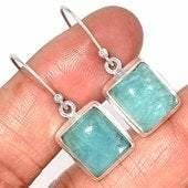Aquamarine Earrings sterling silver - Aquamarine Earrings - aquamarine stone - crystal earrings silver aquamarine crystal earrings - 139