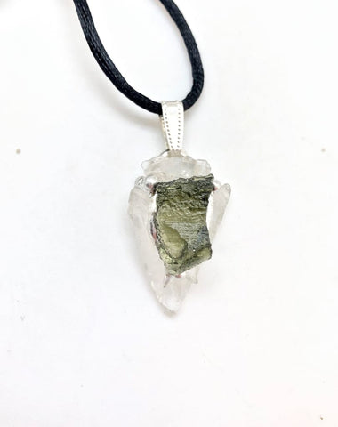 Moldavite & Clear Quartz Arrowhead Pendant - Raw Moldavite Crystal Necklace - raw clear quartz arrowhead - healing crystals and stones