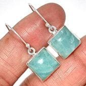 Aquamarine Earrings sterling silver - Aquamarine Earrings - aquamarine stone - crystal earrings silver aquamarine crystal earrings - 181