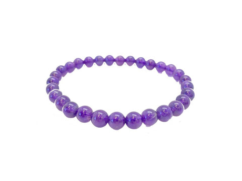 Amethyst Bracelet 6mm Elastic Bracelet - A grade amethyst jewelry - healing crystals and stones - Amethyst crystal bracelet - amethyst stone